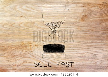 Coins Melting To Sand Into An Hourglass, Sell Fast