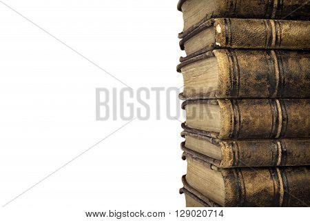 Stacked Old Shabby Books Isolated On White Background