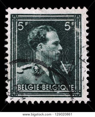 ZAGREB, CROATIA - SEPTEMBER 04: A stamp printed in Belgium shows portrait King Leopold III (1901-1983), circa 1944, on September 04, 2014, Zagreb, Croatia