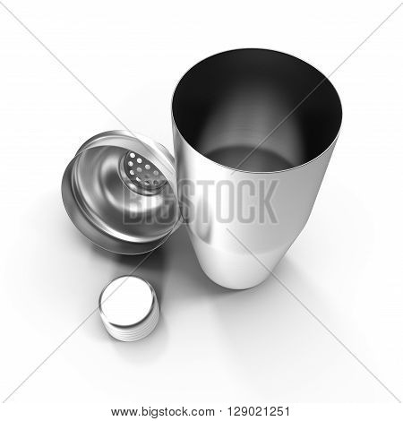 Cocktail shaker. Isolated on white background 3D illustration.