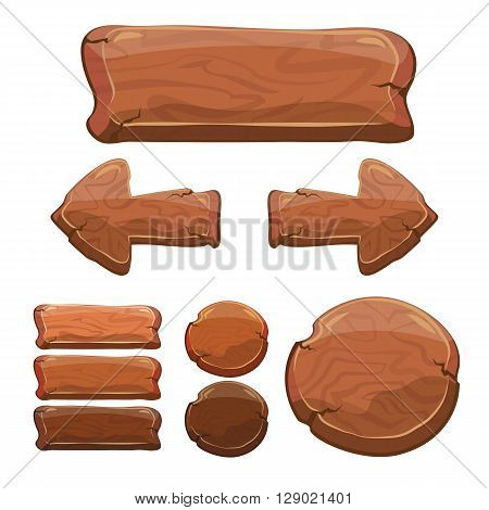 Set of wooden signs cartoon wooden signs banner frame buttom arrow for decoration on your works