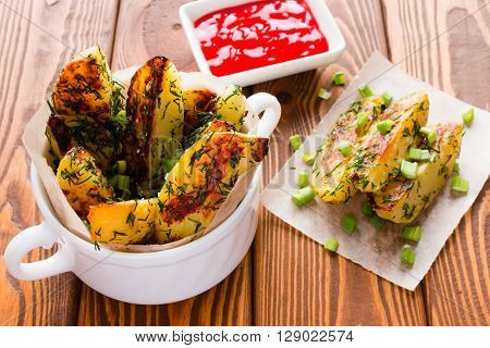 Home Fried Potatoes With Green Onions And Dill