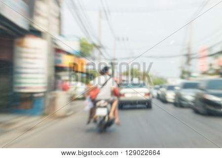 Traffic jam with motion blur slow shutter and zoom technique