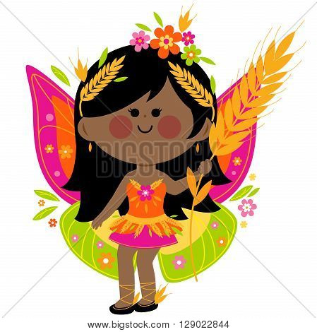 Vector Illustration of a beautiful summer fairy.
