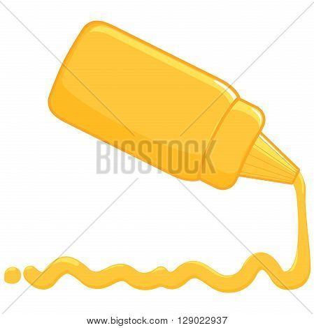 Bottle and spilled sauce of mustard. Vector illustration.
