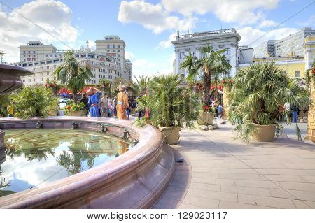 MOSCOW RUSSIA - April 24.2016: Spring Fair at Theatrical Square near the Bolshoi Theatre