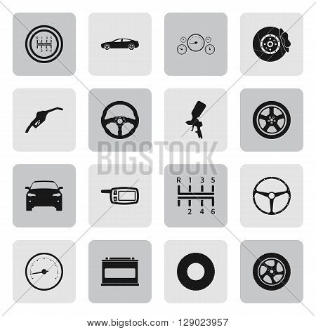Car details and service sign simple icons set on  background