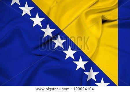 Waving Flag of Bosnia and Herzegovina, with beautiful satin background.