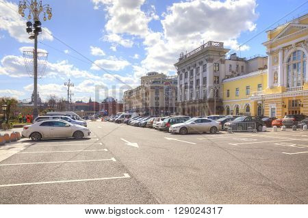 MOSCOW RUSSIA - April 24.2016: Parking lot on the Theatrical Square next to an exit from a subway the Okhotny Ryad and by the Child's theatre