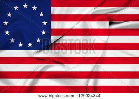 Waving Betsy Ross Flag, with beautiful satin background.