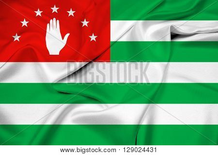 Waving Flag of Abkhazia, with beautiful satin background.
