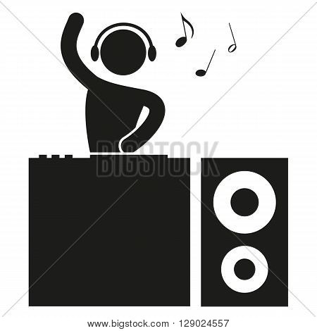 a black and white icon for a party with DJ