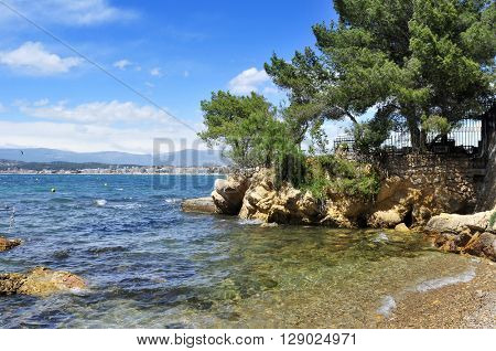 view of a small and quite cave in the Mediterranean sea, in the French Riviera, France