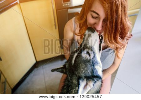 redhead young woman in the kitchen feeding dog