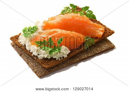 Bread Crisp With Salmon, Soft Cheese And Chervil