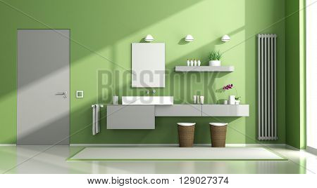 Green And Gray Bathroom