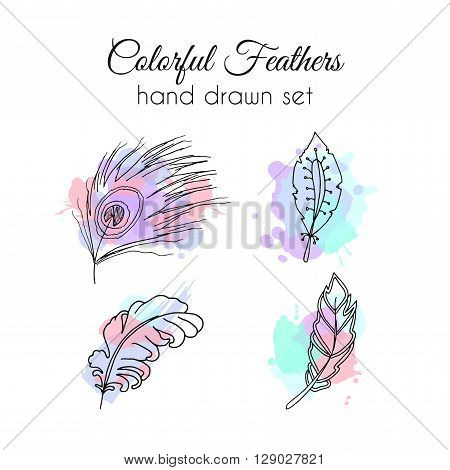 Hand drawn feathers set. Vector ethnic elements with colorful paint splatter. Sketchy feather with ornate decoration.
