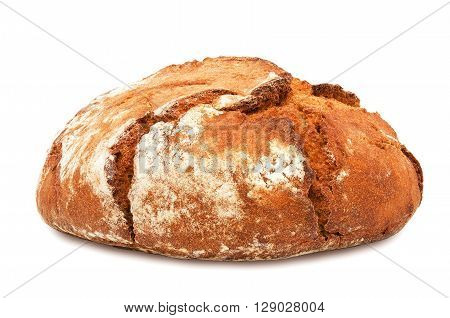 Freshly baked loaf of traditional round rye bread isolated on white background. Design element for bakery product label, catalog print, web use.