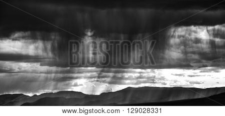 Black and white image of a scary summer strom ** Note: Visible grain at 100%, best at smaller sizes