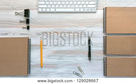 Mock Up Template of Stationary and Electronic Tools in Office Every Day Life Top View Directly from Above