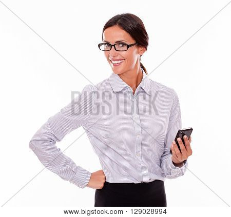 Satisfied Brunette Businesswoman With Cell Phone