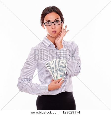 Surprised Brunette Woman Showing Some Money