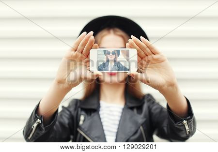 Fashion Woman Makes Self Portrait On Smartphone View Of Screen