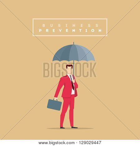 Businessman in red suit. Flat style vector illustration.