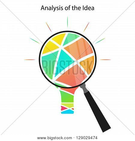 The analysis of the idea. Abstract light bulb through a magnifying glass. Analysis through a magnifying glass. The business concept. Vector illustration.
