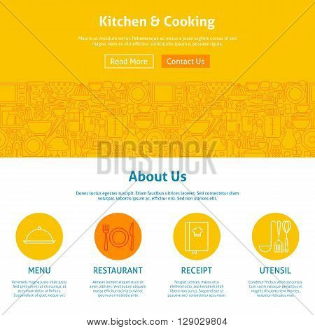 Kitchen and Cooking Line Art Web Design Template. Vector Illustration for Website banner and landing page. Kitchenware and Utensils with Icons Modern Outline Design.