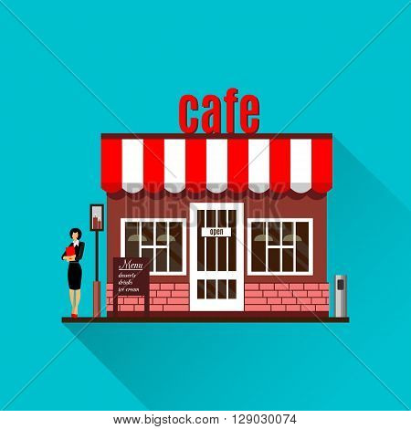 Restaurant or cafe illustration in flat style. Isometric dinner building with waitress and menu board standing nearby. Desserts, drinks, ice-cream. Bistro service. cafe icon with shadow.