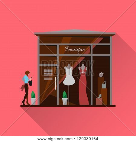 Clothing store. Man and woman clothes shop and boutique. Shopping, fashion, bags, accessories. Flat style illustration. Modern stylish boutique. Woman silhouette in the show window.