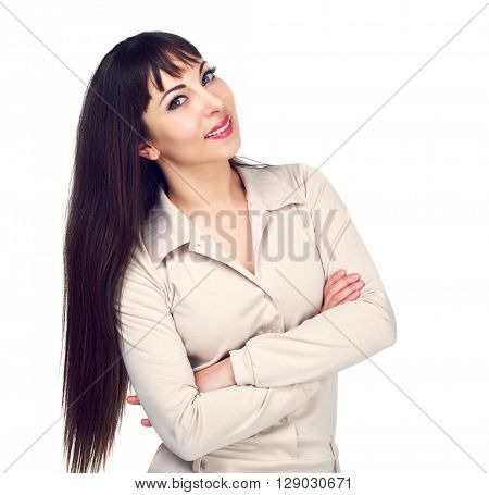 smiling brunette woman, isolated against white background