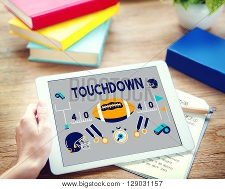 Touchdown American Football Rugby Game Concept