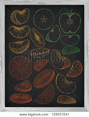 Set Fresh Peach Fruit Mandarin Orange And Apple. Chalk Sketch