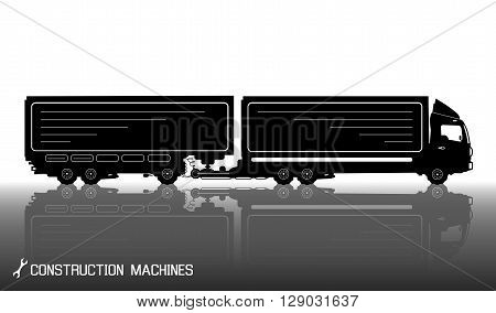 Detailed Silhouettes Of Trailer Truck With Reflections Background. Vector Illustration