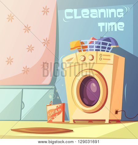 Cleaning time cartoon background with washing machine and bath vector illustration