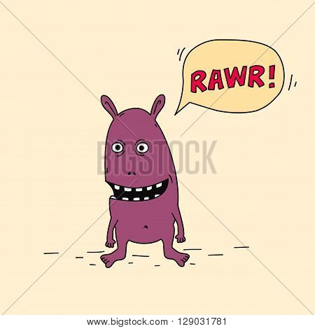 Funny purple cartoon monster is angry and roaring