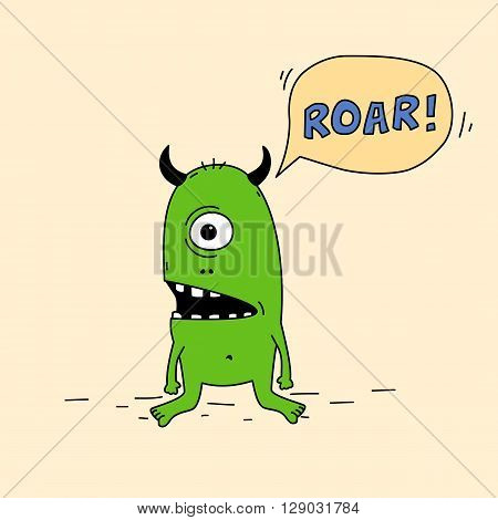 Funny one-eyed green cartoon monster with silly face expression.