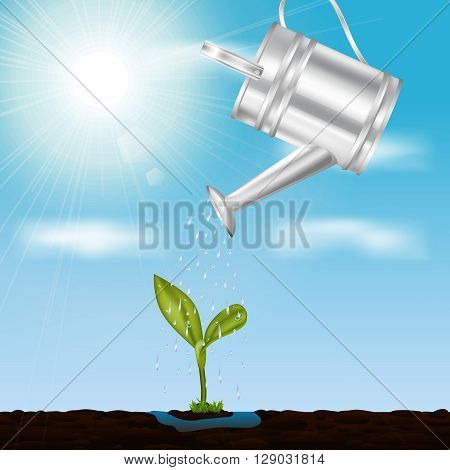 Young growing sprout in springtime design concept with metal watering at sky and sunlight  background vector illustration