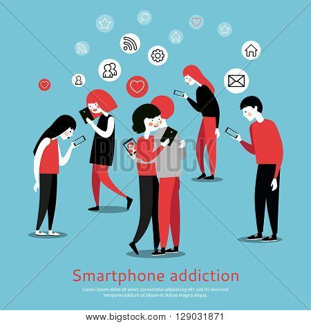 Smartphone internet addiction awareness flat poster with people chatting with virtual friends and checking mails abstract vector illustration