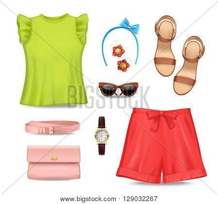 Female romantic colorful summer clothing and accessories set on white background flat isolated vector illustration