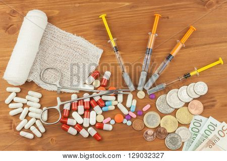 Money for expensive treatment. The Swiss franc and the euro on drugs. Selling drugs. Expensive health care. Modern medicine. Cancer Treatment.