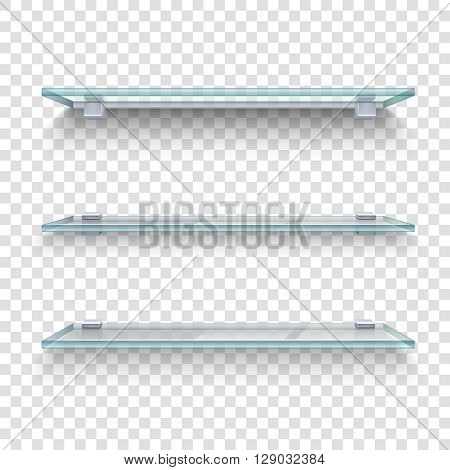 Three alike glass shelves on transparent grey and white plaid background realistic vector illustration