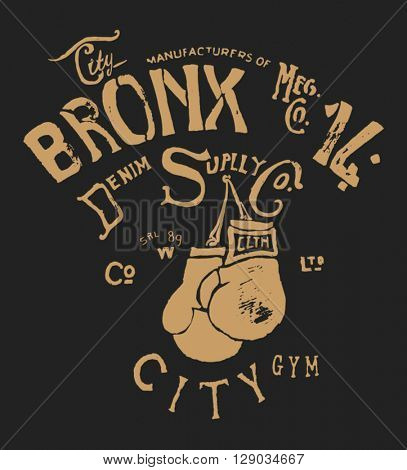 vintage typography and boxing gloves illustration