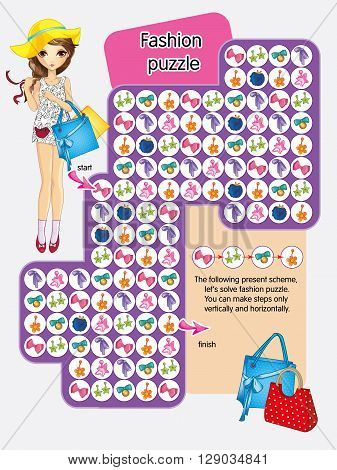 Vector activity page for kids.Let solve fashion puzzle