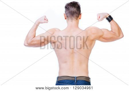 Torso of a bodybuilder - isolated on white.