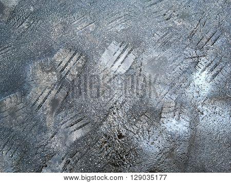 Tire Imprint On The Asphalt