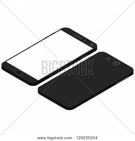 Cell phone. Flat isometric. Mobile device. Modern technologies of communication. Communication and management. Black smartphone with white Touchscreen display. Vector illustration.