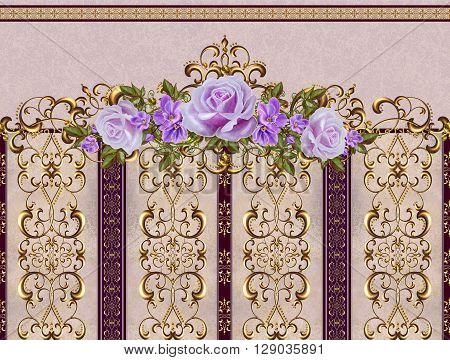 Pattern seamless. Old style. Garland of pink and orange roses gold border gold mosaic.